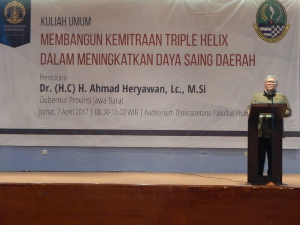 Gubernur Jbar, Aher Beri Kuliah Umum di Fakultas Hukum UI Depok