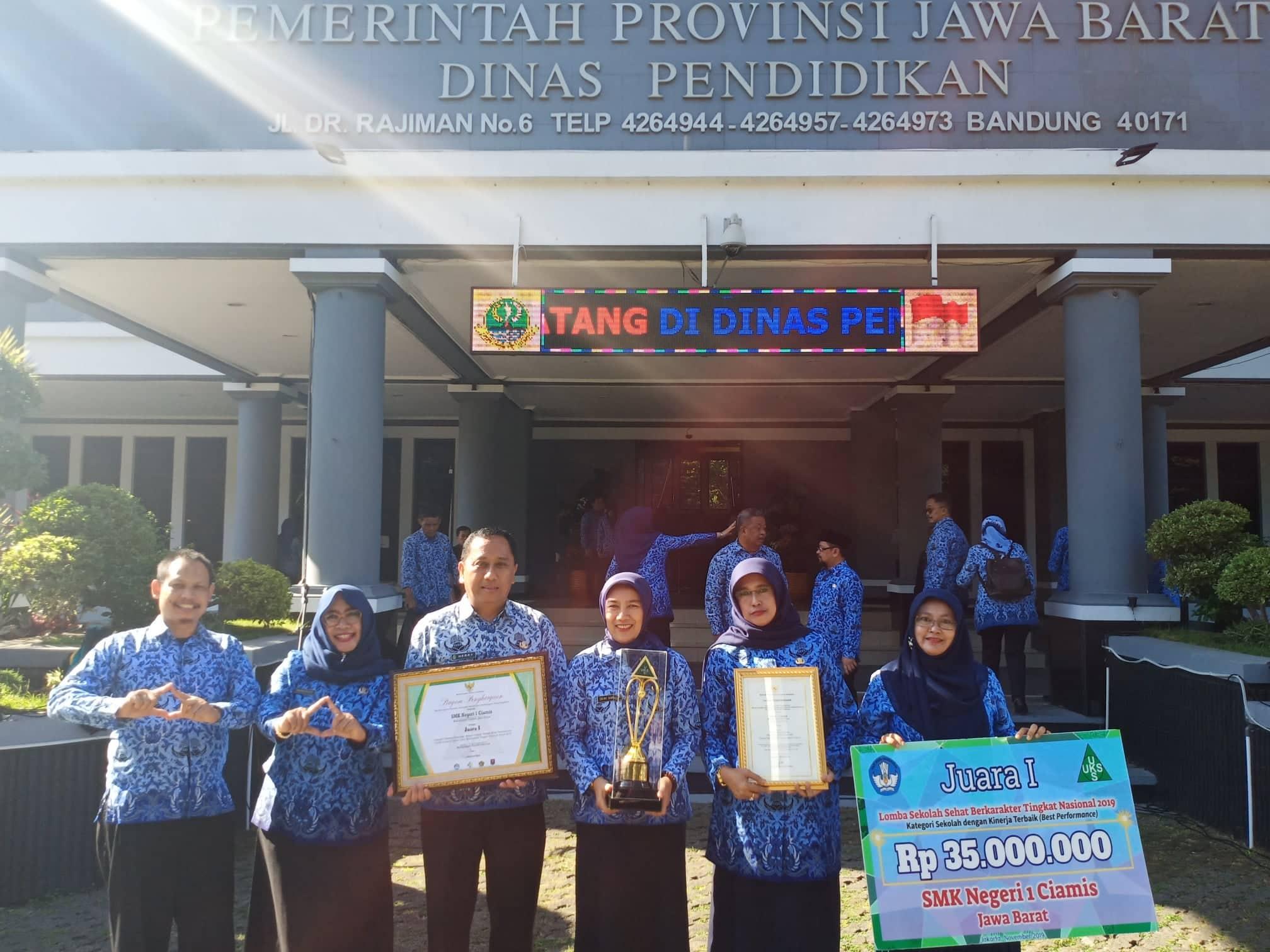 SMKN 1 Ciamis raih juara I Lomba Sekolah Sehat Berkarakter Tingkat Nasional Tahun 2019.