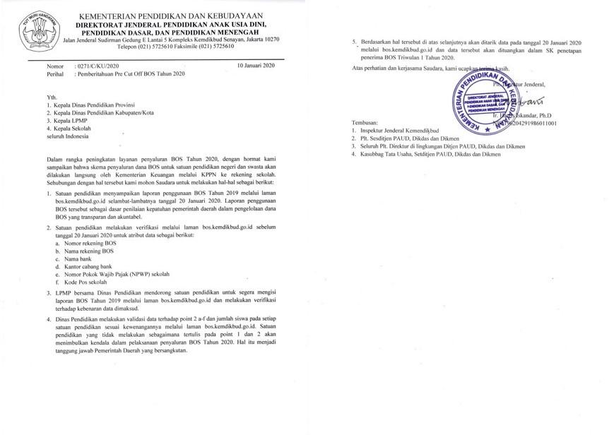 Surat Edaran Nomor 0271/C/KU/2020 Tentang Pemberitahuan Pre Cut Off BOS Tahun 2020