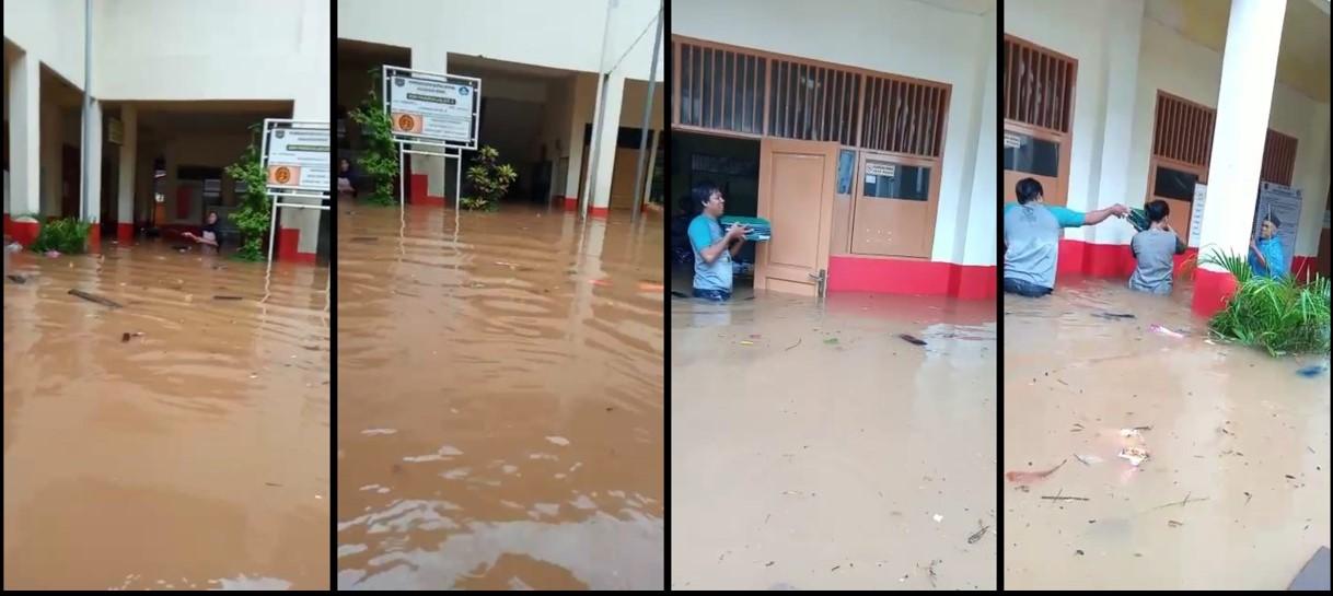 Banjir di SDN Pangkalan Jati 2 Cinere Sepinggang Orang Dewasa