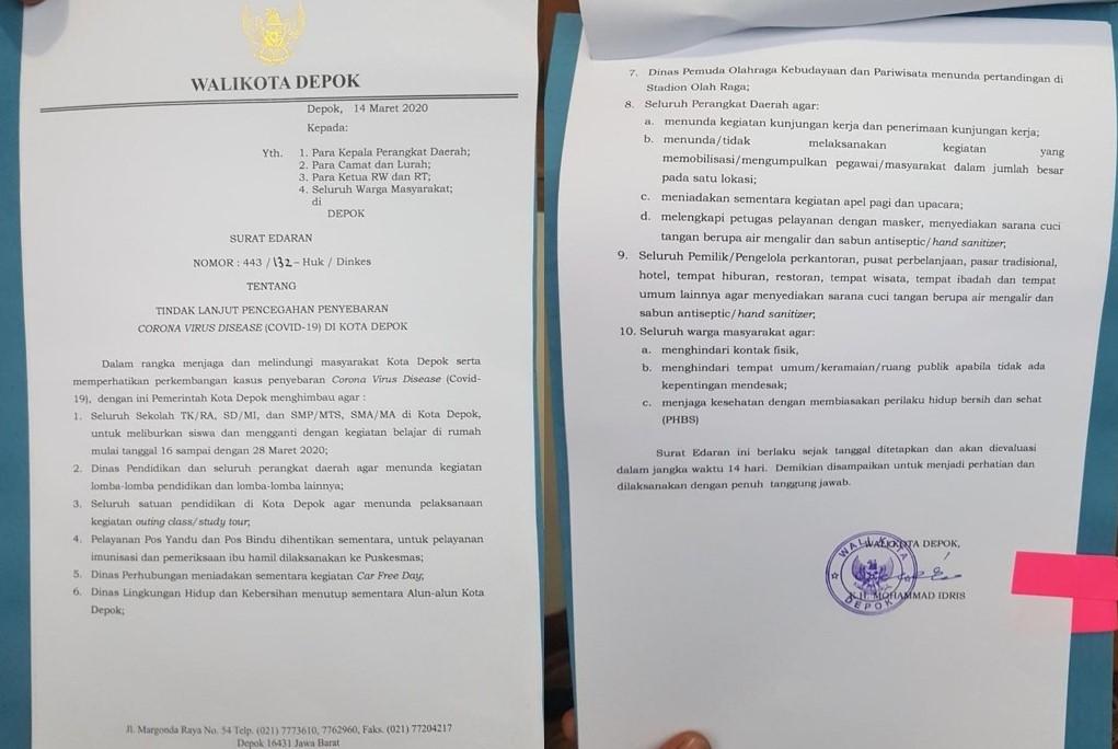 Surat Edaran Wali Kota Depok Terkait Merebaknya Virus Corona
